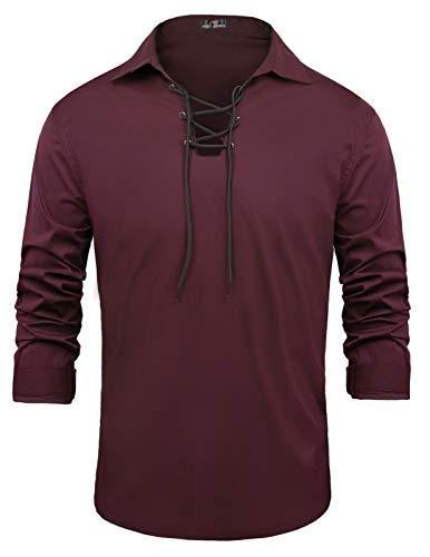 PJ PAUL JONES Mens Scottish Kilt Shirt Casual Long Sleeve Lace Up Medieval Shirt Red Wine 2XL