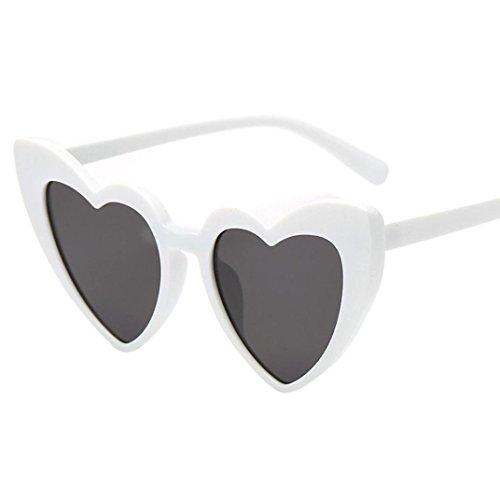 Huhu833 Mode Damen Retro Fashion Heart-shaped Shades Sonnenbrille Integrierte UV-Brille Reise Sonnenbrille (A)