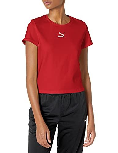 PUMA Classics Fitted tee Camiseta, American Beauty, XL para Mujer