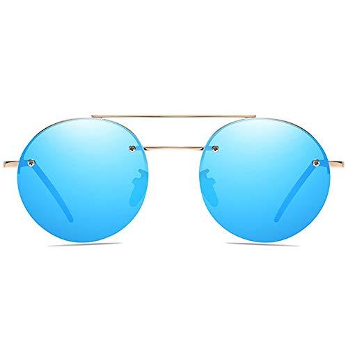 WHSS Gafas de sol clásicas de material de metal con marco dorado, lentes azul/marrón para hombres y mujeres con las mismas gafas de sol polarizadas (color: azul)