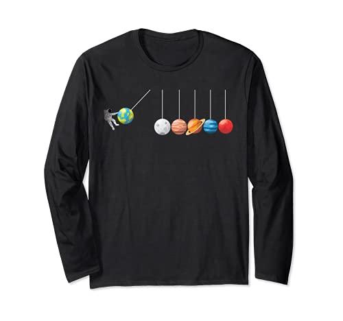 Divertida camiseta de astrofísico Planeta Péndulo de Newton Manga Larga