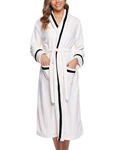 iClosam badjas dames winter flanel lange ochtendjas coral fleece pyjama warm en zacht saunamantel en riem S-XXL