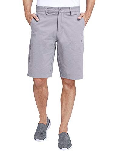 CAMEL Mens Work Shorts 12' Inseam Flat Front Shorts Relaxed Fit Hybrid Chino Pleated Walkshort for Men with 4 Pockets 11 inch Grey