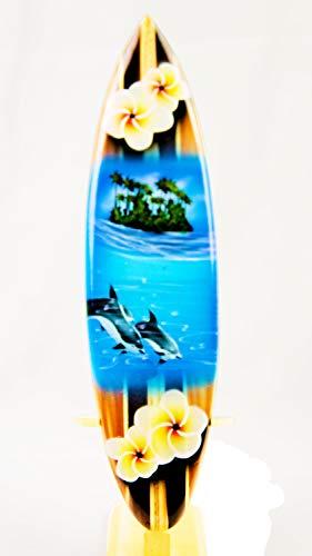 Asia Design Tabla de surf en miniatura (madera, altura de 20 cm, incluye soporte de madera)