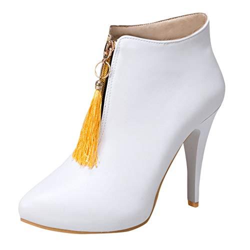 Maleya Winter Damen Schuhe Retro Style Quaste Stiefel mit hohen Absätzen Front Zipper Boots...