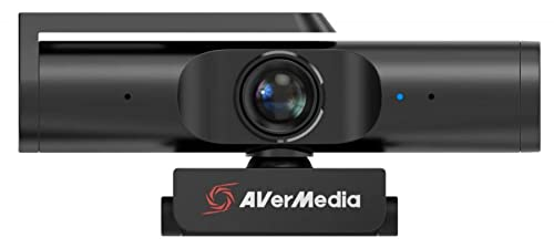 AVerMedia Live Streamer PW513, 4K UHD, 1080p/60fps, Webcam mit Mikrofon für Zoom-Konferenzen, Meetings und Vlogging, Ultraweitwinkel, KI Auto-Framing