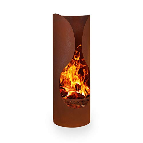 blumfeldt Verdon Rust Garden Fireplace Terrace Oven - Material: Steel, FireView Concept, Fire-Resistant Material, Rust Includes Charcoal Grate and Poker, Safe Stance, Colour: Black