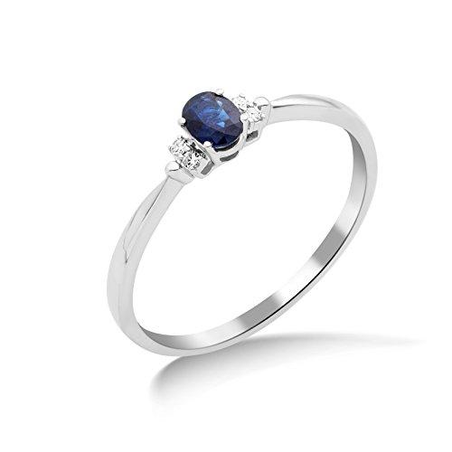 Miore Damen Solitär-Ring, 9 Karat Weißgold, Saphir, MY051R