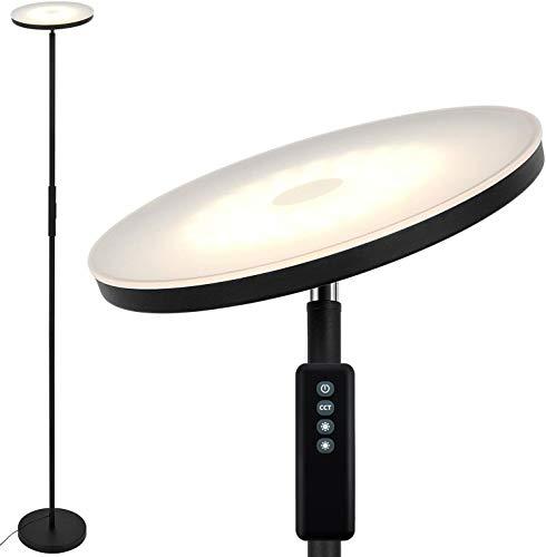 Anten Stjarna | 20W Schwarze LED Stehlampe mit Fernbedienung, dimmbar LED Deckenfluter mit einstellbare Lichtfarbe und Heiligkeit, perfekt als Ambientbeleuchtung für Wohnzimmer/Büro.