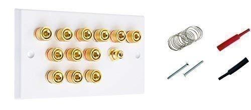 6.1 Sonido Envolvente Altavoz Placa De Pared con Dorado Bornes + Enchufe RCA + Soldador + Calefactor Retráctil