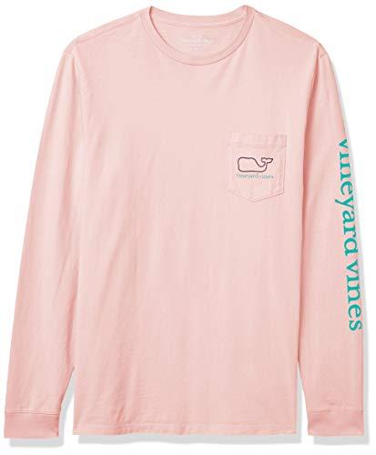 Vineyard Vines Men's Long-Sleeve Whale Pocket T-Shirt, Flamingo, Large