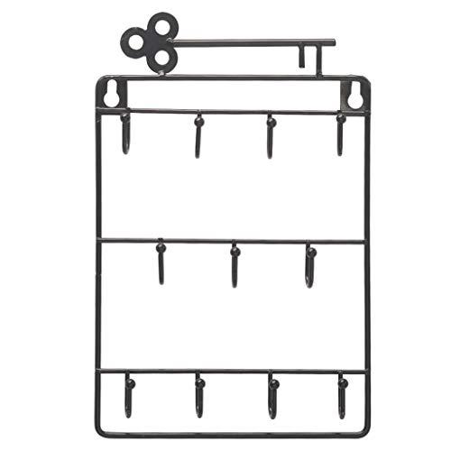 Y-POWER Estilo moderno de hierro montado en la pared 11 ganchos clave titular abrigo sombrero almacenamiento rack práctico paño/llaves ganchos