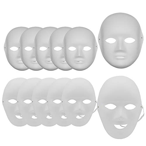 Carnavalife, 12 Máscaras Blancas para Pintar, Máscara de Pulpa en Blanco, DIY, Accesorio ideal para Disfraces de Carnaval, Halloween, Cosplay, Fiestas (Hombre*6 Mujer*6)