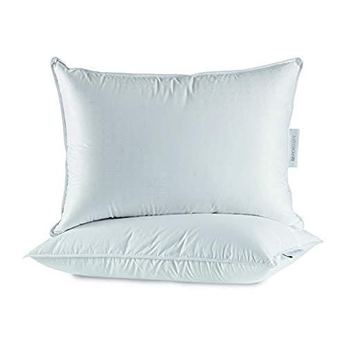 Penelope - Almohada de plumón para Dormitorio, tamaño estándar, Color Blanco