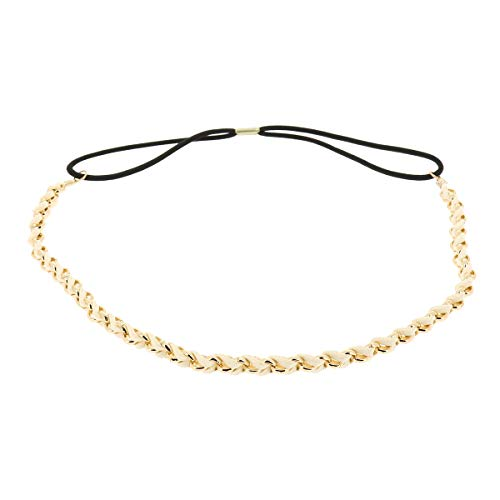 Weißes Damen Haarband - Goldenes Suede Geflochtenes Hairband, Samtaspekt - Einheitsgrößer Dünnes Stirnband - Hochzeit Vintage Headband - Original Look Boho, Hippie