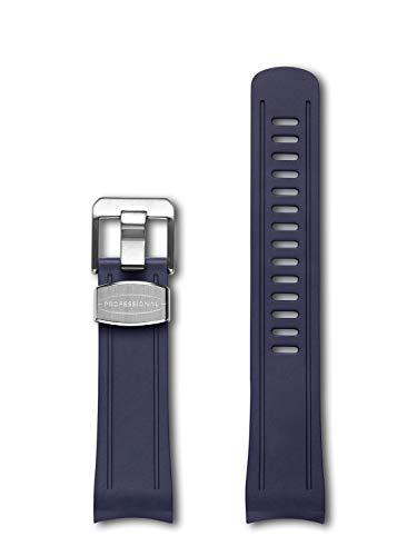 Crafter Blue Gummi gebogen Bandanstoß Uhrenarmband CB04 Kompatibel mit Seiko Shogun SBDC007, SBDC029, SPB057J, SPB099J1 - dunkelblau