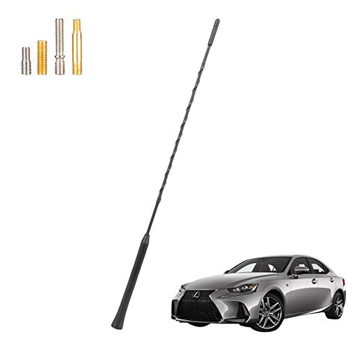 Dailylife 16inch Mast Screw Whip Fuba Style Spiral Screw Universal Auto Radio Aerial Antenna Replacement|AM/FM Amplified Booster Compatible with Mazda 3/5/6 Toyota Scion VW BMW Lexus IS300 OEM(Black)