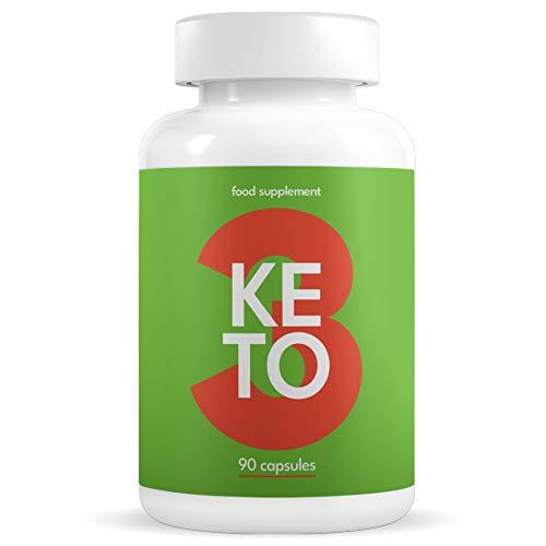 KETO 3 Brûleur de Graisse Puissant et Efficace - Pilules de Perte de Poids avec Régime Cétogène pour Femmes et Hommes - Fat Burner & Detox - Avec Garcinia, L-Carnitine, Caféine - 90 Capsules