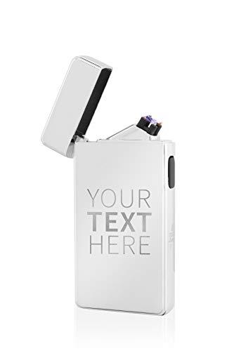 Tesla-Lighter T13 Lichtbogen Feuerzeug, mit Wunsch-Gravur, personalisiert als Geschenk zu Weihnachten, Geburtstag etc. Elektronisches Feuerzeug, wiederaufladbar per USB inkl. Geschenkverpackung Silber