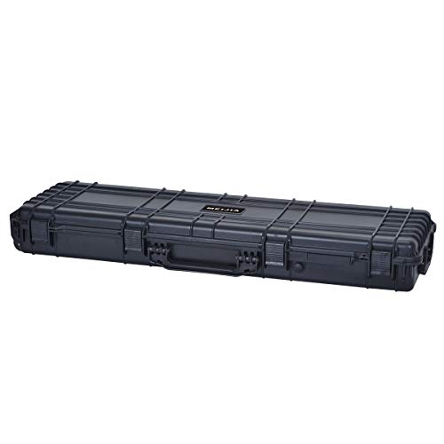 MEIJIA Portable All Weather Rolling Hard Rifle Case with...