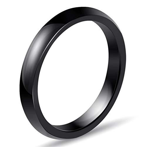 OAKKY 3MM Largeur Engagement Mariage Bande Bague Femme Céramique Noir Taille 54