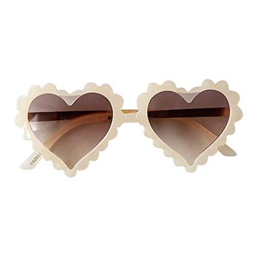 SunniMix Gafas de Sol plásticas Protectoras UV400 Amor corazón patrón Gafas Playa Fiesta favores - Beige