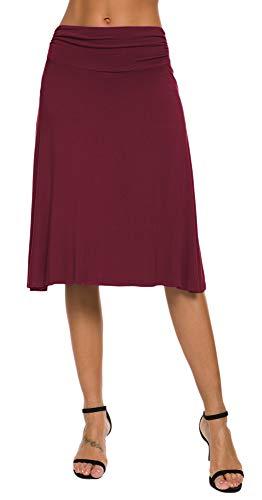 EXCHIC Damen Elastische Taille Einfarbig A-Linie Yoga Rock (S, Wein-Rot)
