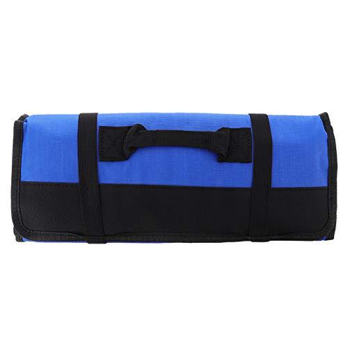 Hemoton Chefs Knife Roll Bag 22 Ranuras Cuchillo Cubiertos Portador Portátil Hogar Herramientas de Cocina Case Pouch Holder Utility Pocket for Outdoor Camping Bbq Blue