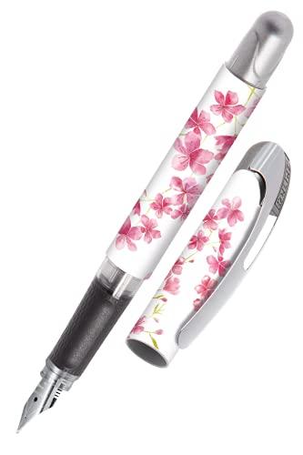 ONLINE Stylo à encre College Cherry Blossom│ stylo plume ergonomique pour l'école │ plume moyenne, partie soft grip │ pour cartouches d'encre standard │ rechargeable │idéal pour enfants
