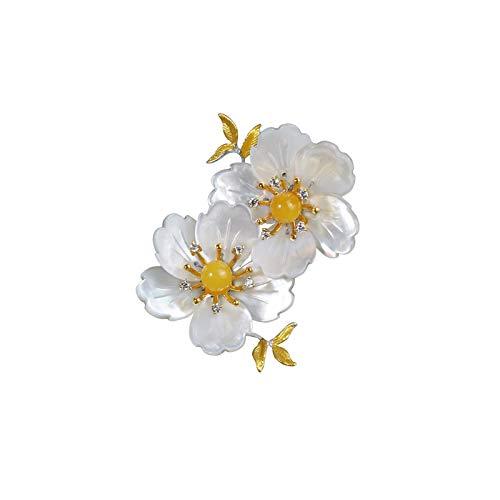 hkwshop Pin Broche 1 Piezas de Flor de Perlas Broche suéter Clip de Chal Pin de Seguridad de Alta Gama Temperament Ramillete para Mujeres niñas Ropa decoración Solapa Broche