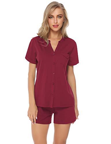 Hawiton Damen Kurz Schlafanzug Sommer Baumwolle Nachtwäsche Pyjama Sleepwear mit Knöpfeleiste V Ausschnitt Weinrot M