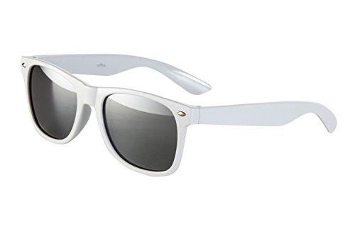 Ciffre Nerdbrille Sonnenbrille Nerd Atzen Pilotenbrille Brille Retro Weiß Silber Verspiegelt