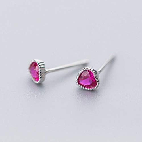 WOZUIMEI Pendientes de Plata S925 Estilo Coreano Femenino Pendientes de Amor de Diamante Púrpura Simple Lindo Pequeño en Forma de Corazónplata