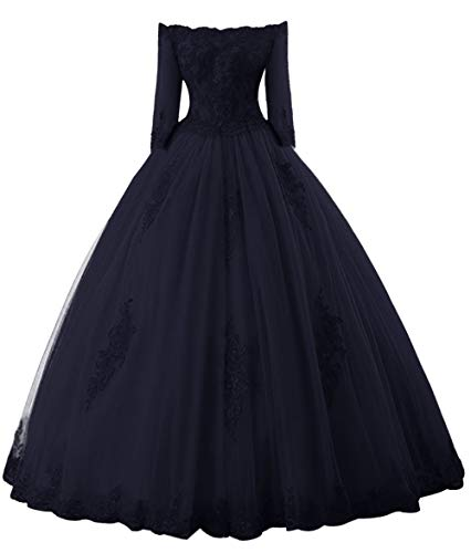 Prom Dress Long Sleeves Quinceanera Dress Off Shoulder Lace Evening Gowns Tulle Prom Dresses Navy