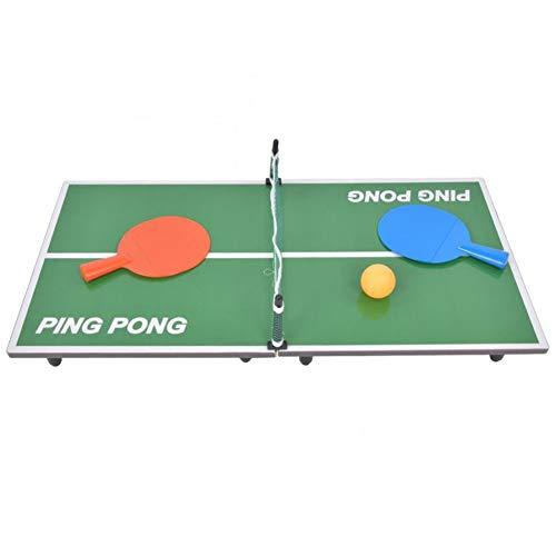 YAOLAN Mini Tischtennisplatte, Aus Holz Tischtennis Sets, Enthalten: 1 Blocknetz 1Tischtennisplatte 2 Tischtennisschläger 2 Gelbes Tischtennis für Home Party Spiele 90 * 40 * 6.5CM
