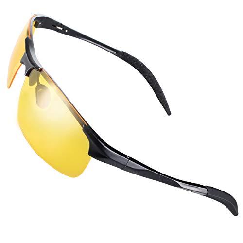 CHEREEKI Nachtsichtbrille Autofahren Nachtsicht Brille Polarisiert HD Gelbe Anti-Glanz Metall Sonnenbrille für Herren und Damen (Nachtfahrbrille)