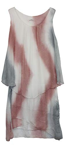 BZNA Ibiza Batik Empire Lagenkleid Sommerkleid Rosa Weiß Grau 100% Seidenkleid Bozana Sommer Herbst Seidenkleid Damen Dress Kleid elegant