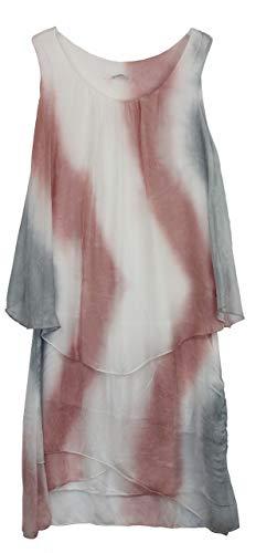 BZNA Ibiza Batik Empire Lagenjurk zomerjurk roze wit grijs 100% zijden jurk Bozana zomer herfst zijden jurk dames jurk jurk elegant