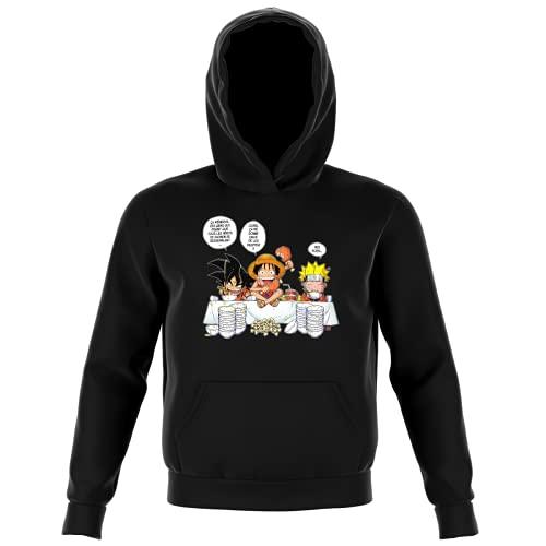 Sweat-Shirt à Capuche Enfant Noir Parodie DBZ, One Piece et Naruto - Luffy, Naruto et Sangoku - La Recette d'un Bon Shonen Manga (Super Deformed) (Sweatshirt de qualité Premium de Taille 9-10 Ans -