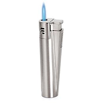 Clipper Lampe torche jet flamme allume cigare au gaz butane briquet en métal, argent