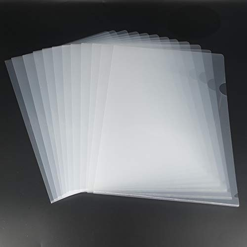 L-Type Plastic Folder Safe Project Pockets Transparent Clear Document Folder 12pcs for A4 paperPlastic Paper Jacket Sleeves in Assorted Project Folders