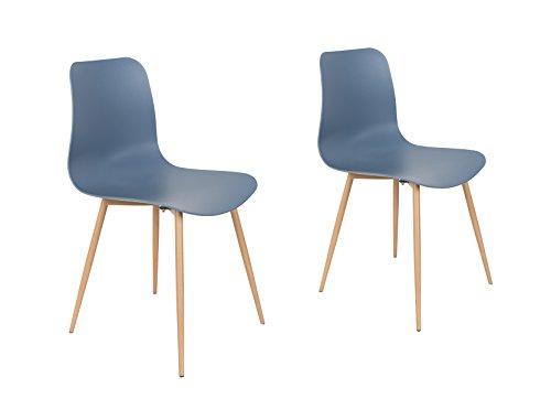 Felis Lifestyle Leon Set di 2 sedie in polipropilene, blu, 49 x 44 x 79,5 cm