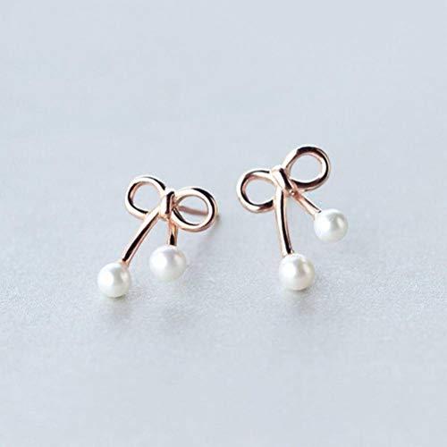 K-Earing 925 Silberne Bogenohrringe Weiblicher Natürlicher Art Bonbon Wulstiger Frischer Ohrschmuck Der Synthetischen Perle, Roségold