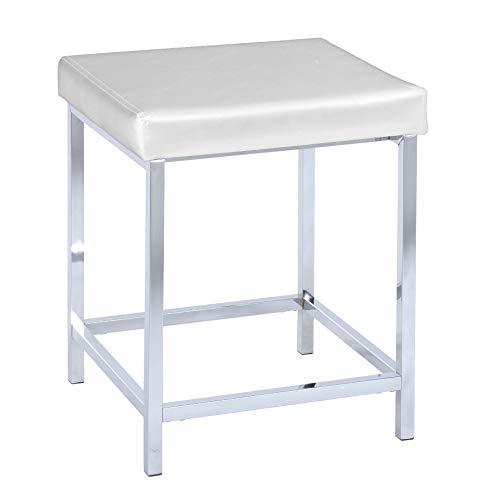 WENKO Hocker Deluxe Square White - Badhocker, gepolsterte Sitzfläche, Kunststoff, 40 x 47 x 40 cm, Weiß