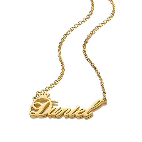 Collar Colgante Collar de corona personalizado Joyas con dijes de acero inoxidable Cualquier montón de estilo de fuente para elegir para niñas y niños Collar amistad Aniversario Cumpleaños Regalo