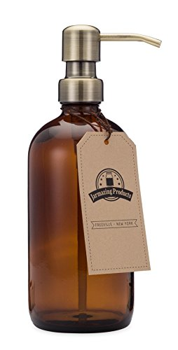 Jarmazing Products Bernsteinfarbene Glasflasche Seifen- und Lotionspender mit Messing-Metallpumpe - 16 Oz (473 ml)