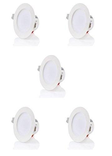 Sweet lED iP40 ® design plat plat lED encastrable blanc chaud 5 w 230 v/cadre blanc/ronde/badleuchten spots encastrés pour salle de bain 5 x Stück Kaltweiß