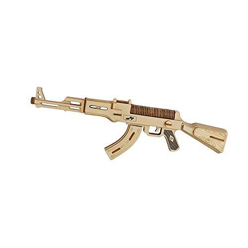DNAMAZ Pistolas Bricolaje de Madera Metralleta Modelo 3D Tridimensional Pistola de Juguete del Rompecabezas for el Corte de los niños DIY Hecho a Mano Láser Bandas