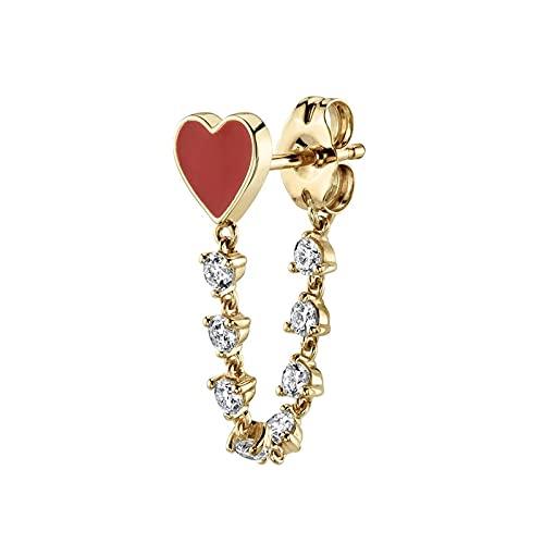 Pendientes de botón con colgante de corazón de diamante de 1 pieza, pendientes de circonita de plata de ley 925 para mujer, joyería de oro
