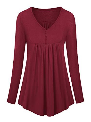 Amoretu Bluse Damen Langarm T-Shirt Lockere Oberteile Elegant Tunika mit Knöpfen Weinrot XL
